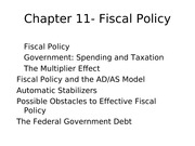 Chapter 11 Fiscal Policy Summary lecture notes