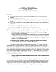 WS4 Problem Document chapters 12 13 14