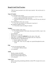Biology of Infection and Immunity Kang 8 Notes