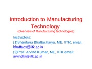 Manufacturing Processes (ME361) Lecture 1