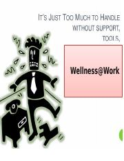 Coping stress & wellness at Work