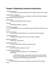 chapter 12- distribution channel definitions