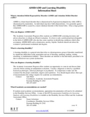 ADHD_ADD and LD Information Sheet