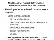 Next Steps for Project Deliverable 4 Spring 2015