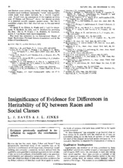 Insignificance of Evidence for Differences in Heritability of IQ between Races and Social Classes