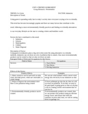 Going Green- Industries Worksheet