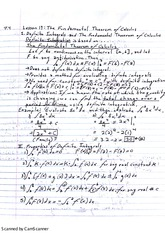 The Fundamental Theorem of Calculus Notes