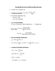 Formula Sheet for Exam 1