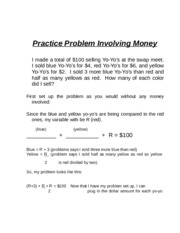 BUS 20 Ch 5 Practice Prob with money