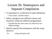 Namespace and Separate Compilation