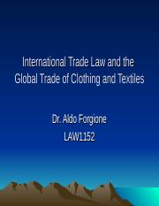 LAW1152.International Trade Law re Textiles.2016.ppt