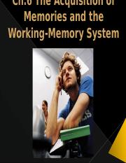 Ch.6 The Acquisition of Memories and the Working-Memory System
