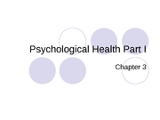 Psychological Health I - notes