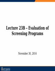 Lecture 23B - Evaluation of Screening Programs_sv.pptx