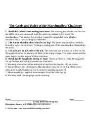 The Goals and Rules of the Marshmallow Challenge 2018.docx