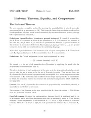 Herbrand Theorem, Equality and Compactness Lecture Notes