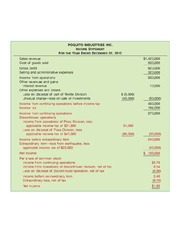 Income Statement with Irregular Items