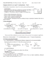 CHEM 215 - Chapter 23, 14 Carbohydrates Part 1 Notes