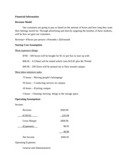 Financial Information homework