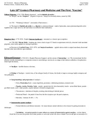 History of Pharmacy - Class Outline - April 12, 2011