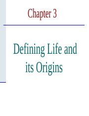 Chapter 3 - Origins of Life