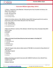 Current Affairs May Quiz 2015