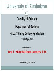 HGL 217 Mining Geology Applications Lectures 17