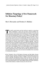 Inflation Targeting A New Framework for Monetary Policy