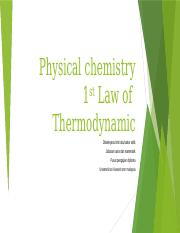 Chapter 3 First Law of Thermodynamic