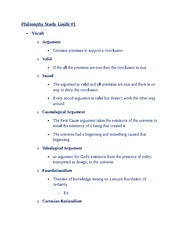 Philosophy Study Guide 1