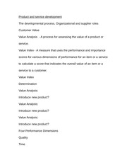 Notes on Product and service development