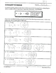 Covalent Bonds Worksheet - Khayav