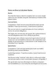 Notes on How to Calculate Ratios