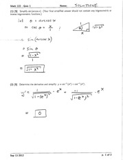 Math 122 Quiz 1 Version 1 Solutions