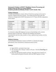 Homework 6 Problem 2 HYSYS Distillation Column Processing