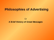 Philosophies of AdvertisingSummary