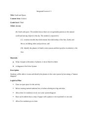 Integrated Lesson Plan