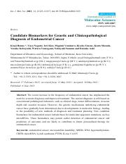 Candidate Biomarkers for Genetic and Clinicopathological Diagnosis of Endometrial Cancer