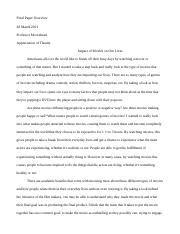 Appreciation of Theather Final Paper Overview