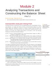 Module 2 -Analyzing Transactions and Constructing the Balance Sheet - Part 2