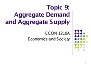 Topic 9. Aggregate Demand and Aggregate Supply