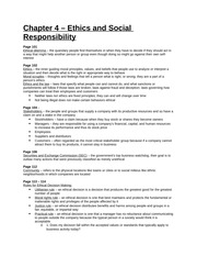 Study Guide - Chapter 4 - Ethics and Social Responsibility