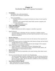MGT 701: Stockholder Rights Notes