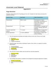 Piaget worksheet - Appendix B PSY/202 Version 3 1 Associate Level ...