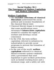 Social Justice and Peace Studies 1025F Class Notes Welfare Capitalism