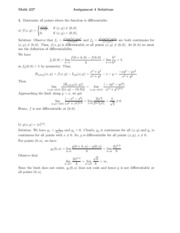 Assignment 4: Differentiability & Partial Derivatives