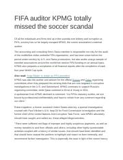 FIFA auditor KPMG totally missed the soccer scandal