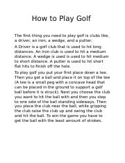 How to Play Golf.docx