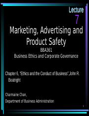 Marketing, Advertising and Product Safety