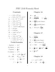 physics 2140 formulas for all chapters